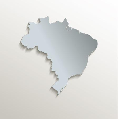 papery: Brazil map white blue card paper 3D raster