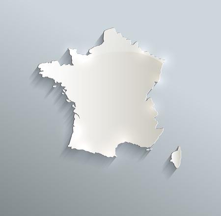 France map blue white card paper 3D raster