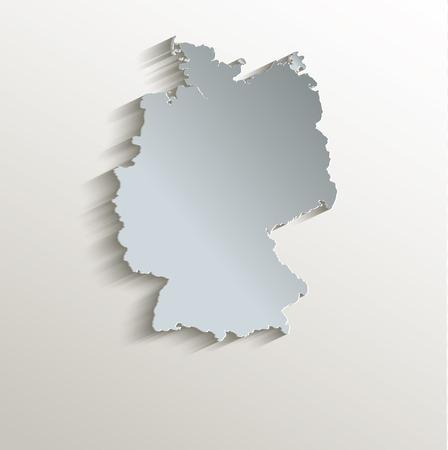 Germany map white blue card paper 3D raster Foto de archivo