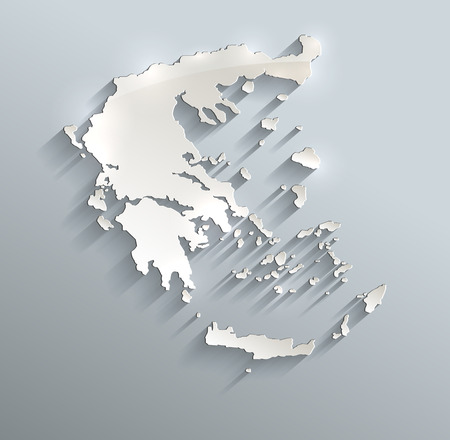 papery: Greece map blue white card paper 3D raster