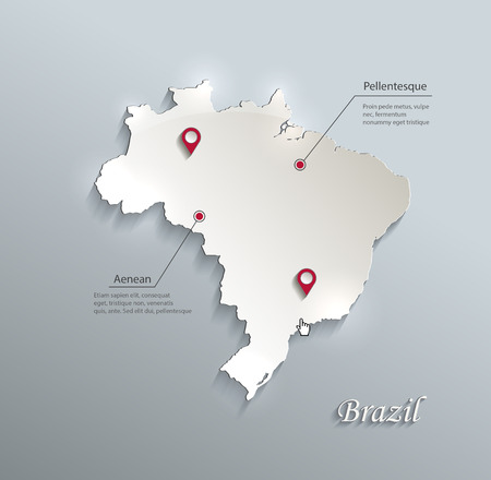 Brazil map blue white card paper 3D vector Illustration