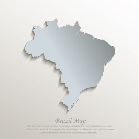 papery: Brazil map white blue card paper 3D vector