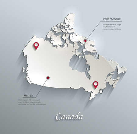 canadian icon: Canada map blue white card paper 3D vector