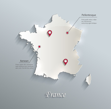 France map blue white card paper 3D vector Ilustrace