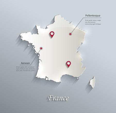 France map blue white card paper 3D vector Illustration