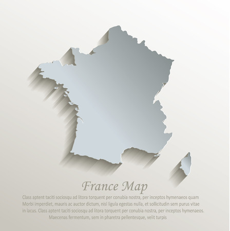 european map: France map white blue card paper 3D vector