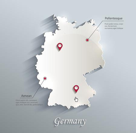 Duitsland kaart blauw witte kaart papier 3D vector Stock Illustratie