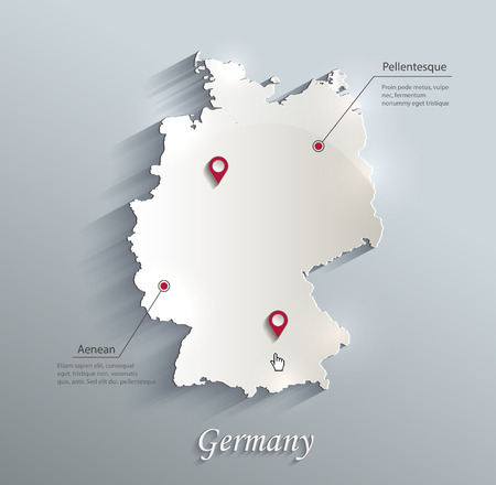 Germany map blue white card paper 3D vector Ilustrace