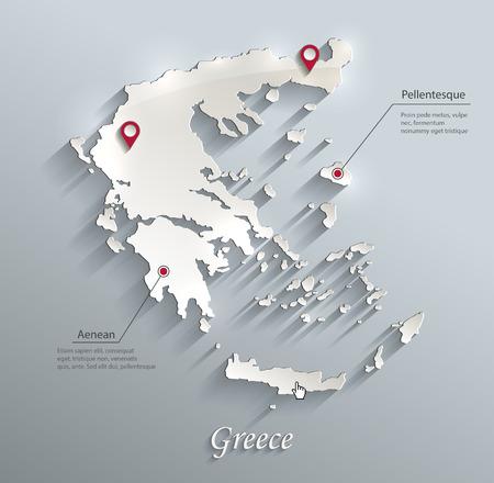 ギリシャ地図青白カード紙 3 D ベクター インフォ グラフィック  イラスト・ベクター素材