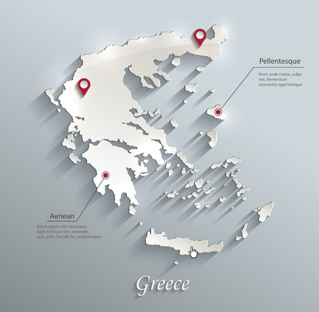Griekenland kaart blauw witte kaart papier 3D vector infographics