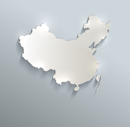 worldrn: China map blue white card paper 3D raster