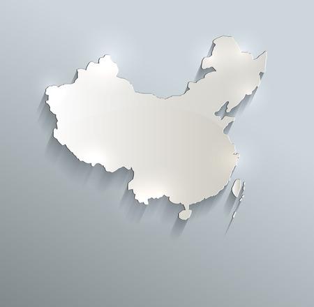 mapa china: China mapa azul tarjeta blanca trama de papel 3D