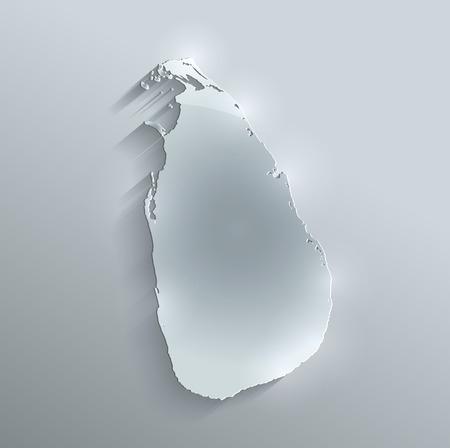 sri: Sri Lanka map glass card paper 3D raster