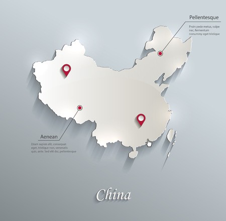 papery: China map blue white card paper 3D vector infographics Illustration