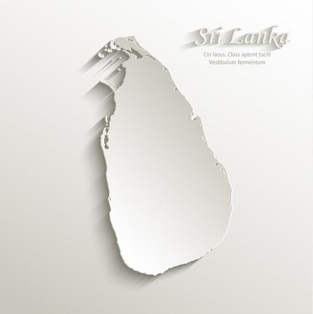 sri: Sri Lanka map card paper 3D natural vector