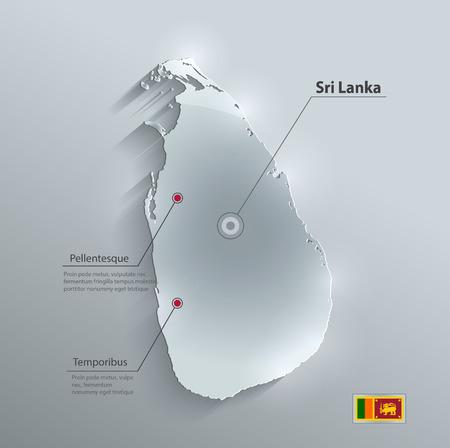 lanka: Sri Lanka map flag glass card paper 3D vector