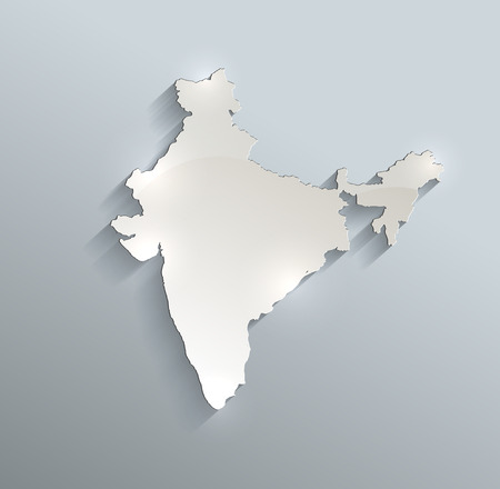 india 3d: India map blue white card paper 3D raster Stock Photo