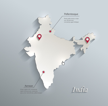 south india: India map blue white card paper 3D vector