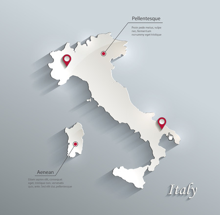 papery: Italy map blue white card paper 3D vector