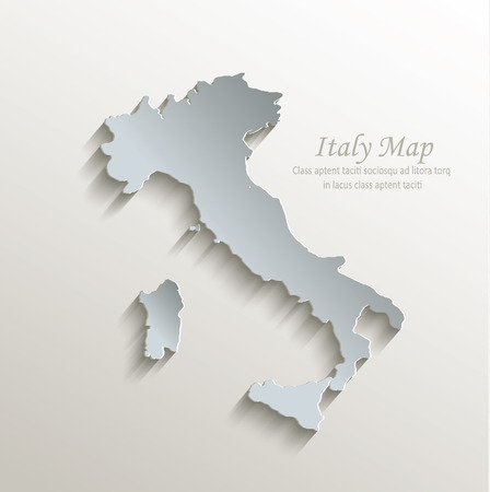 Italy map white blue card paper 3D vector