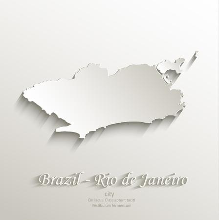 federative republic of brazil: Brazil Rio de Janeiro city map card paper 3D natural vector