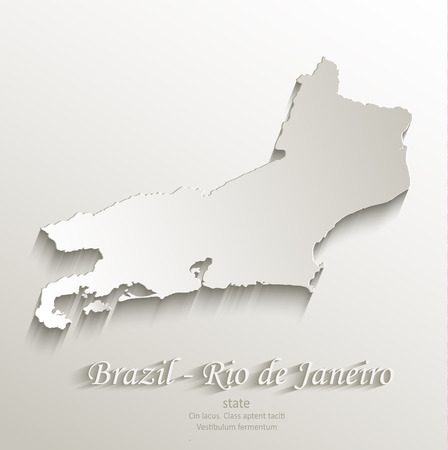federative republic of brazil: Brazil Rio de Janeiro state map card paper 3D natural vector