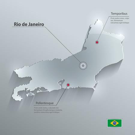 federative republic of brazil: Brazil Rio de Janeiro State map flag glass card paper 3D vector Illustration