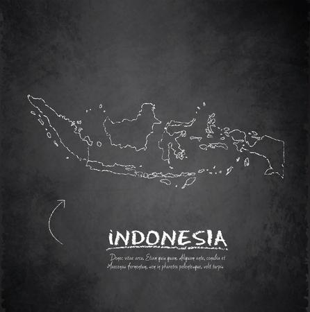 インドネシア地図黒板黒板ベクトル  イラスト・ベクター素材
