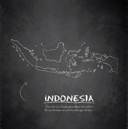 Indonesia map blackboard chalkboard vector