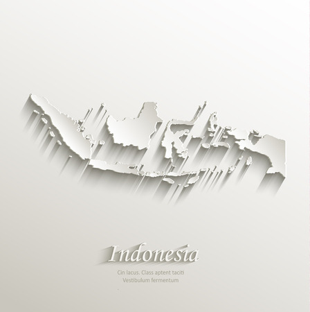 Indonesia map card paper 3D natural vector Illustration