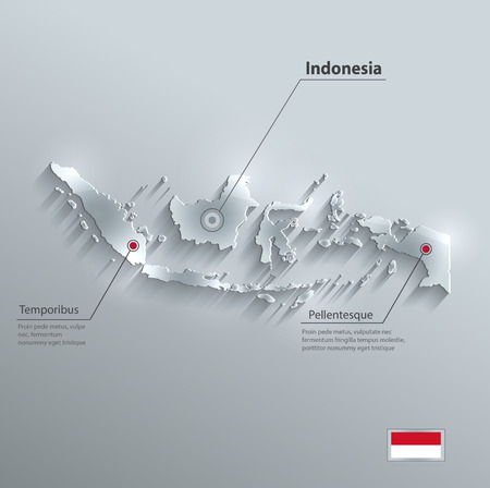 Indonesia map flag glass card paper 3D vector Vector