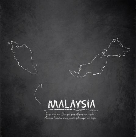 Malaysia map blackboard chalkboard vector