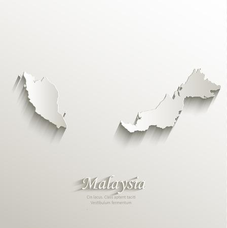 말레이시아지도 카드 종이 3D 자연 벡터 일러스트