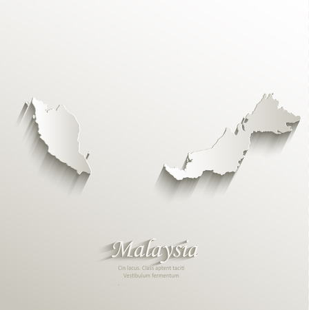 Malaysia map card paper 3D natural vector Illustration