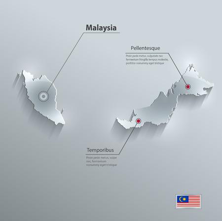 マレーシア地図フラグ ガラス カード紙 3D ベクトル