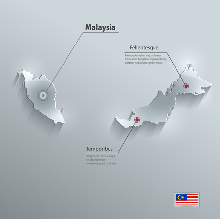 map of asia: Malaysia map flag glass card paper 3D vector
