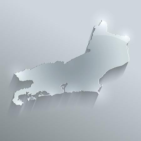 federative republic of brazil: Brazil Rio de Janeiro State map glass card paper 3D raster