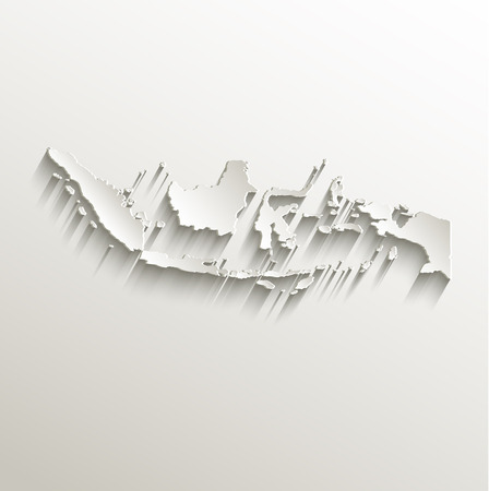 papery: Indonesia map card paper 3D natural raster