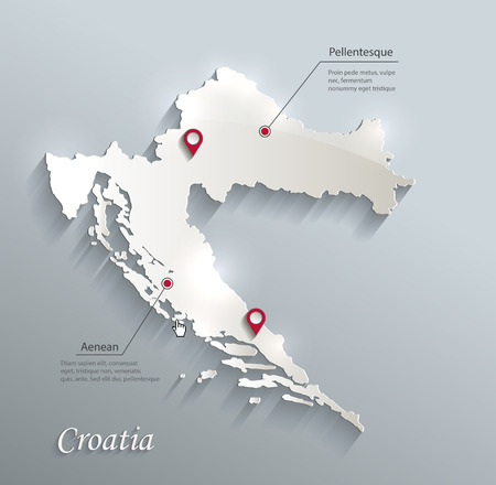 croatia: Croatia map blue white card paper 3D vector infographics vector