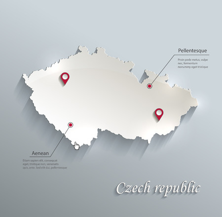 Czech map blue white card paper 3D vector infographics vector