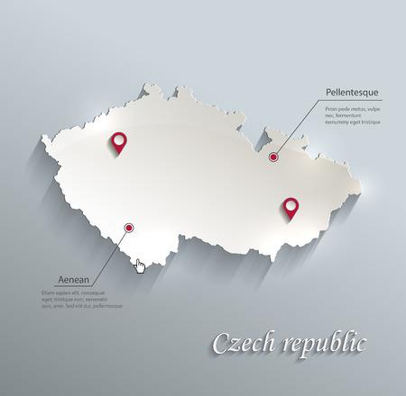 Czech map blue white card paper 3D vector infographics vector