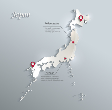 Japan map blue white card paper 3D vector infographics vector