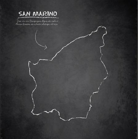 smallest: San Marino map blackboard chalkboard vector