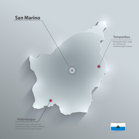 marino: San Marino map glass card paper 3D vector
