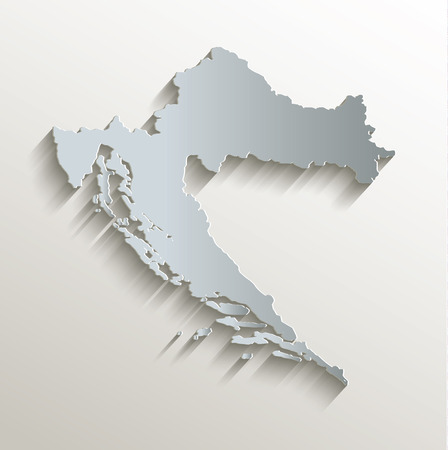 papery: Croatia map white blue card paper 3D raster Stock Photo