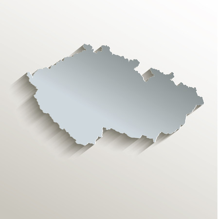 papery: Czech map white blue card paper 3D raster Stock Photo