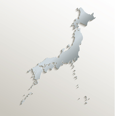 Japan map white blue card paper 3D raster photo
