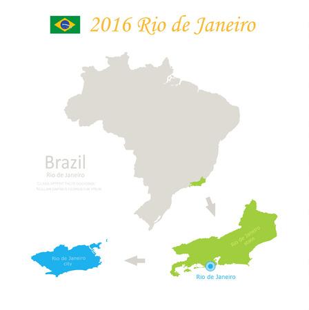 federative republic of brazil: Brazil Rio de Janeiro state city Brazil map vector