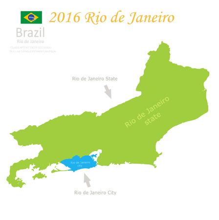 federative republic of brazil: Rio de Janeiro state city Brazil map vector