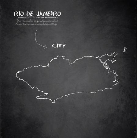 janeiro: Rio de Janeiro map city blackboard chalkboard vector